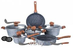 7pc Marble Coated Aluminium Non Stick Cookware Set Frying Pan Saucepan Glass LID