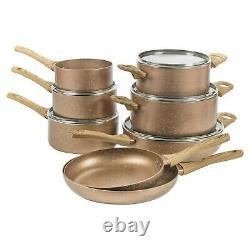 8 PCS Ceramic Coated Rose Gold Induction Cooking Pots Frying Pan Cookware Set