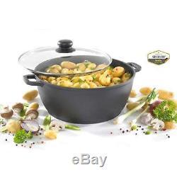 8 Pcs Die-cast Casserole Dish Soup Pan Sauce Pot Non Stick Cooking Saucepan Wok