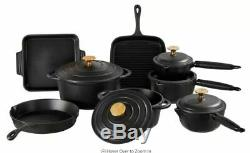 8-Piece Cast Iron Cookware Set Casserole Pan Skillet Saucepan Roast Dish & Lids