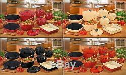 8 Piece Cast Iron Set Casserole Frying Pan 3 Saucepan Skillet Cooks Professional