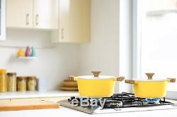 8 pc Ceramic Nonstick Cookware Set -Dutch Oven Pots withLids N Frying Pans, Yellow