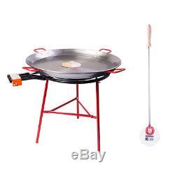 90 cm Polished Paella Pan, 70cm Gas Burner Set/Kit + 80cm Stainless Paella Spoon