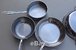 All-Clad Cookware Stainless Steel 4 Pc. Set Nonstick Frying Sauce Pan Brazier