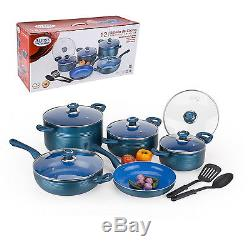Alpine 12pc Aluminum Ceramic Blue Coated Cooking Pot Wok Pans Tools Cookware Set