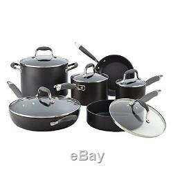 Analon Cookware Set Best Nonstick Ovensafe Pan Advanced Hard Anodized 11-Pc Gray