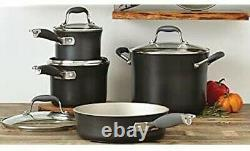 Anolon Advanced Cookware Hard Anodized Nonstick 11 Piece Set Pewter Grey