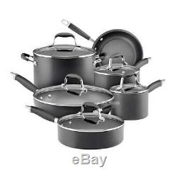 Anolon Advanced Hard-Anodized Nonstick 11-Piece Cookware Set, Gray 82676