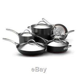 Anolon Nouvelle Anodized Nonstick 11-Piece Cookware Set, Dark Gray 82835