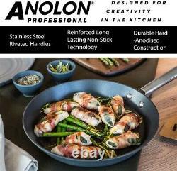 Anolon Professional Set of 5 Hard Anodized Cookware Saucepan Set, Black
