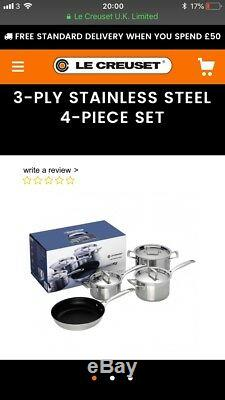 BNIB Le Creuset 3-Ply Stainless Steel Saucepans &Frypan 4 Piece Set RRP£400