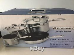 Bargain-Le Creuset 3-Ply Stainless Steel 2Saucepans, Milkpan & Frypan 4Piece Set