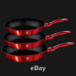 Berlinger Haus 3 Pcs Frying Pan Set Burgundy Metallic Line