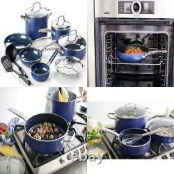 Blue Diamond 12 Piece Cookware Set Blue Toxin-Free Ceramic Non-stick New
