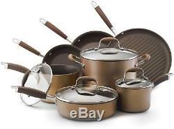 Bronze Collection Nonstick Cookware Set Aluminum Pot Pan Dishwasher Safe 11 Pc
