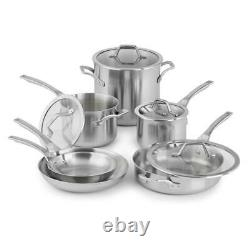 Brushed Stainless Steel Cookware Set 10-Piece Assorted Pots Pans Glass Lids