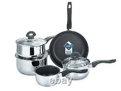Buckingham Induction 5 Piece Saucepan Set Cookware Pot Pan Set Stainless Steel
