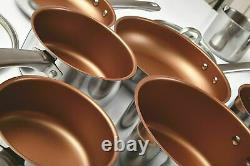 CERMALON 11PC Stainless Steel, Copper, Induction Pan Set Non-Stick CERAMIC Hobs