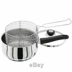 CHIP PAN POT LID & BASKET SET 3PC 20cm STAINLESS STEEL DEEP INDUCTION FRYER