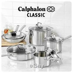 Calphalon Classic 10 Piece Pots Pans Cookware Set Stainless Steel