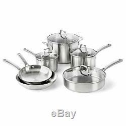 Calphalon Classic Pots And Pans Set, 10-Piece Cookware Set, Stainless 10-Piece