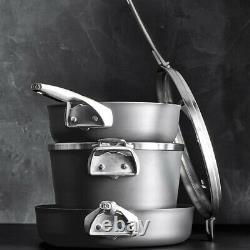 Calphalon Premier Space Saving Nonstick Supper Club Set 3 Pans 2 Lids