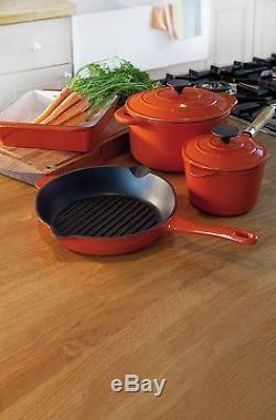 Cast Iron Cooking Set Non-Stick Kitchen Cookware Casserole Saucepan Roasting Pot