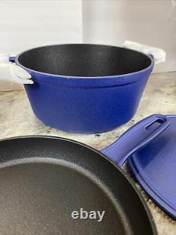 Cast-Iron Elite Nonstick Cook's Essentials 7pc Cookware Set Dutch Oven Pan Blue