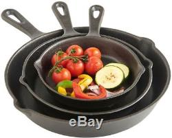 Cast Iron Skillet Pan Set 3 Piece Cooking Cookware Frying Saute Grill Kitchen