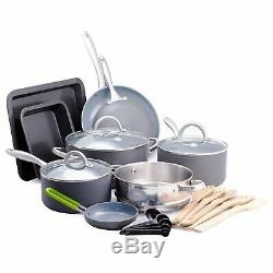 Ceramic Cookware Pots And Pans Cooking Set With Non-Stick Griddle 18 Pieces NEW