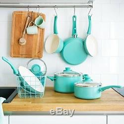 Ceramic Cookware Sets Nonstick Teal 14 Pcs Pots And Pans Stockpot Skillet Frying