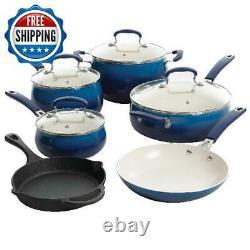 Ceramic Nonstick Cookware Set 10-Piece Cast Iron Pots & Pans Cook Kitchen Home