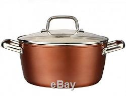 Ceramic Nonstick Dishwasher Oven Safe Copper Finish 10pc Pot Pan Cookware Set