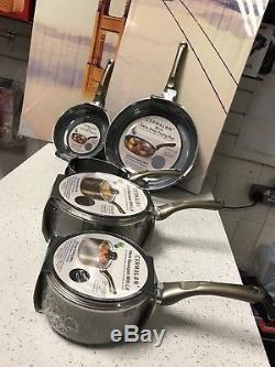 Cermalon 5 Piece Aluminium Induction Pan Set Pewter Non-Stick CERAMIC Gas Hobs