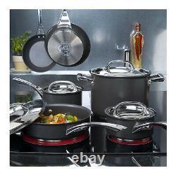 Circulon 80580 Acclaim 10-Piece Nonstick Cookware Pots and Pans Set (Black)