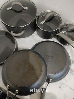 Circulon Elementum Hard Anodised Nonstick Pots and Pans, set 6 Piece Set, Grey