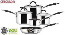 Circulon Momentum Induction Stainless Steel 5 Piece Sauce Pan Frypan Saucepan