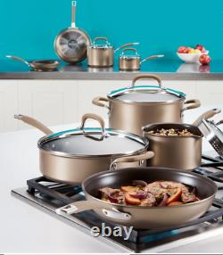 Circulon Premier Hard Anodised Induction 13 Piece Bronze Cookware Set New