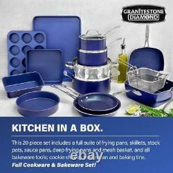 Classic Blue 20-Piece Aluminum Ultra-Durable Non-Stick Cookware Bakeware Set