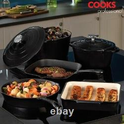 Cooks Professional Cast Iron Cookware Kitchen Pan Set Oven Skillet 3, 5 or 8pc