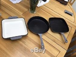 Cooks Professional Grey 8 Piece Cast Iron Pan Set Non Stick Enamel Coated