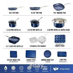 Cookware Bakeware Set Aluminum Durable Non-Stick Diamond Infused Blue 20-Piece