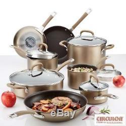 Cookware Hard Anodised Induction 13 Piece Set Bronze Pan Saucepan Non Stick Pot