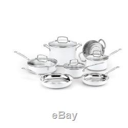 Cookware Set 11 Piece Metallic White Stainless Steel Pots Pans Cooking Cuisinart