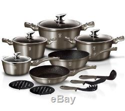 Cookware Set 15-pcs Pot Pan Saucepan Induction Hob GB Berlinger Haus Bh-1223n