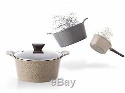 Cookware Set Ceramic Nonstick Scratch Resistant Saucepan Fry Pan 7Pc Venn Marble