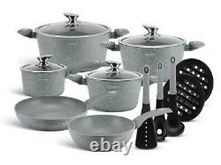 Cookware Set Non Stick 15 Piece Pots Pan Lids Saucepan Induction Marble Granite