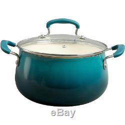 Cookware Set Non-Stick Coating 10 Piece Teal Ceramic Pots Pans Kitchen Cook