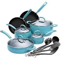 Cookware Set Pots Pans Ceramic Aluminum Blue 14 Pc Kitchen Nonstick Gift New