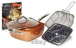 Copper Chef (5 Piece) Non-Stick 9.5 Large Deep Sided Square Pan Kit As Seen